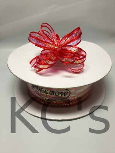 "1/8"" 50 Yards Red Organza Iridescent Center with String Pull Ribbon Bow"