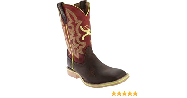Twisted X Youth Unisex Red Leather Crazy Horse Hooey Cowboy Boots