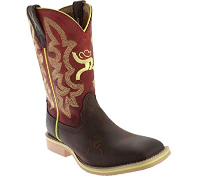9ff813a1b10 Twisted X Youth Unisex Red Leather Crazy Horse Hooey Cowboy Boots