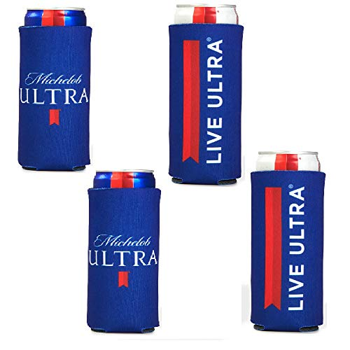 Michelob Ultra Slim Line Can Cooler -4 PACK Coolie LIVE ULTRA