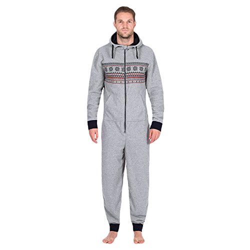 ZOMUSA Hot Sales Men's Fashion Onesie Hooded Snow Print Floral Jumpsuit Hoodie One Piece Non Footed Zip Up Adult Pajamas (M, Gray) ()