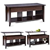 COSTWAY Lift Up Top Coffee Table with Storage & Shelf, Liftable Tabletop, Spring Hinges, 4 Compartments, Smooth Surface, E1 MDF, 105X50X50CM for Living Room, Bedroom, Home, Office (Dark Brown)