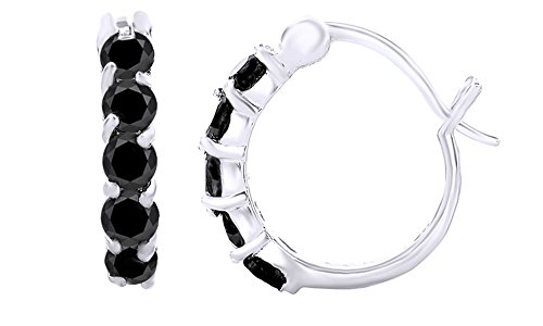 Round Cut Simulated Black Spinel Hoop Earrings in 14k White Gold Over Sterling Silver