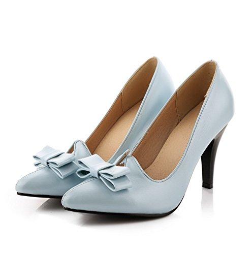 AllhqFashion Damen PU Leder Rein Ziehen auf Spitz Zehe Hoher Absatz Pumps Schuhe Himmelblau