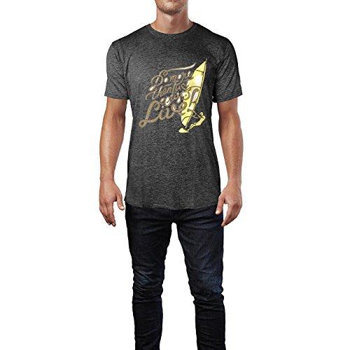 SINUS ART® Do More Then Just Live! Mit Windsurfer Herren T-Shirts in dunkelgrau Fun Shirt mit tollen Aufdruck