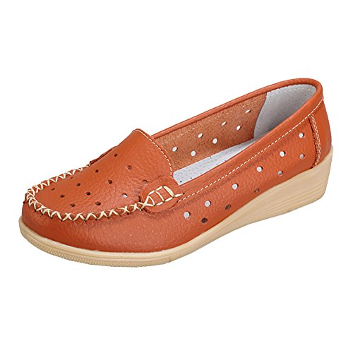 Lisianthus Donna Casual Hollow Out Pu Mocassino Arancione