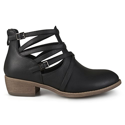 Brinley Co. Womens Faux Leather Strappy Buckle Booties Black, 8.5 Regular US