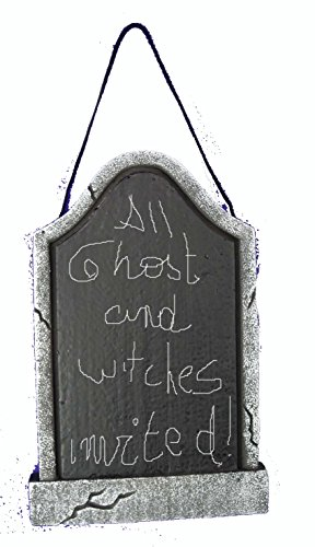 Chic Designs Trick Treat Party Halloween Hanging Chalk Board Writeable Sign Lightweight, Blackboard Tombstone Shape 12