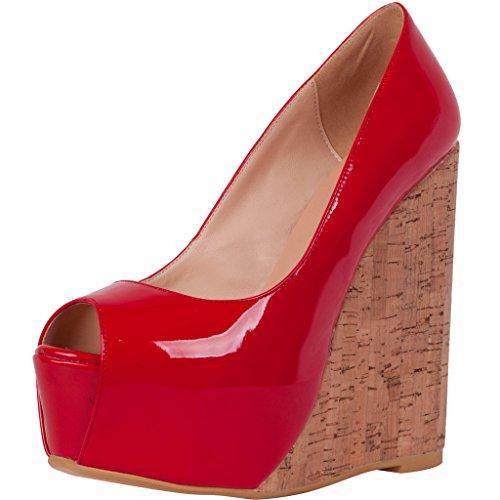 Calaier Mujer Cabrush Señoras Talones Clásico Bombas Zapatos Tacón Ancho 15CM Sintético Ponerse Sandalias de vestir Rojo
