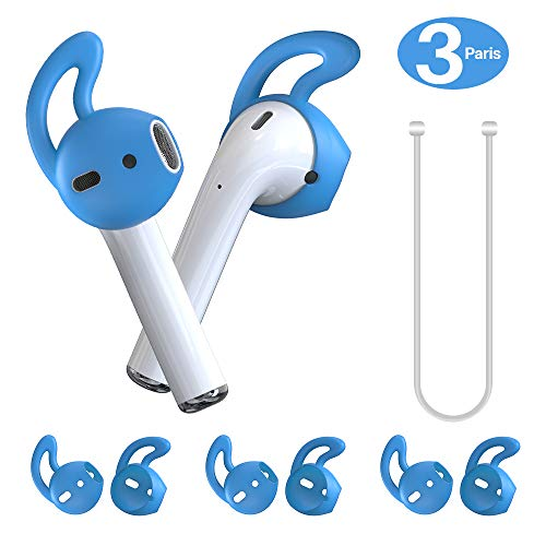 MRPLUM Ear Hooks AirPod Silicone Earbuds Covers Accessories Anti-Slip Earbuds Tips with Strap Compatible with Apple AirPods 1 & 2 or EarPods Headphone Earphone 3 Pairs (Blue)