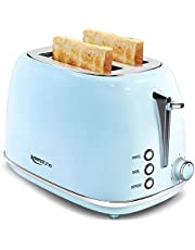 2 Slice Toaster Retro Stainless Steel Toaster with Bagel, Cancel, Defrost Function and 6 Bread Shade Settings Bread Toaster, Extra Wide Slot and Removable Crumb Tray