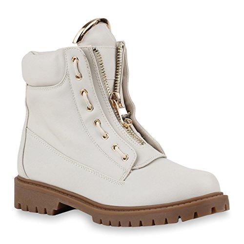 Stiefelparadies Damen Leicht Gefütterte Stiefeletten Worker Boots Outdoor Schuh Flandell Creme Zipper Creme