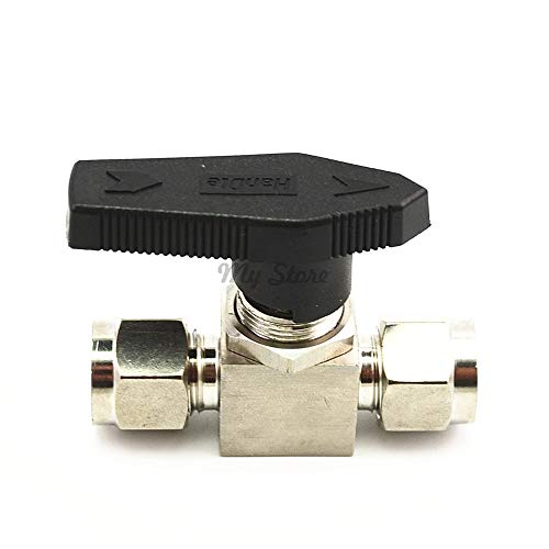 Fincos Stainless Steel 304 Ball Valve Female SS304 for Tube-line and Pipeline Q91SA OD 3MM 4MM 8MM 10MM - (Specification: 1/8