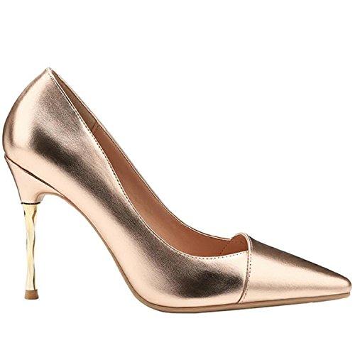Mujer Zapatos Parti Tacco Luminose Tacon Oro In Bacchette Base Scarpe Pistola Pompe Sottile Metallo Colore Alto Di Tacco Della Argento SOqZqf