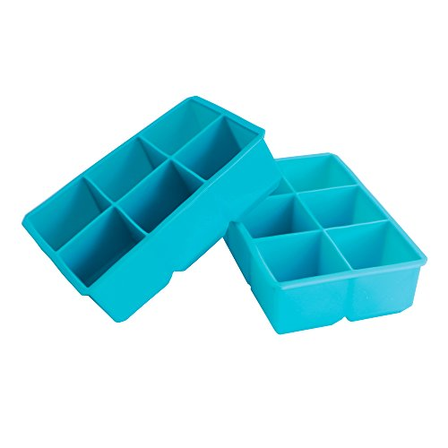 Webake 2-pack Silicone Ice Cube Tray Molds , Large 2 inch Cubes (Blue) (Chocolate Vodka Drink)