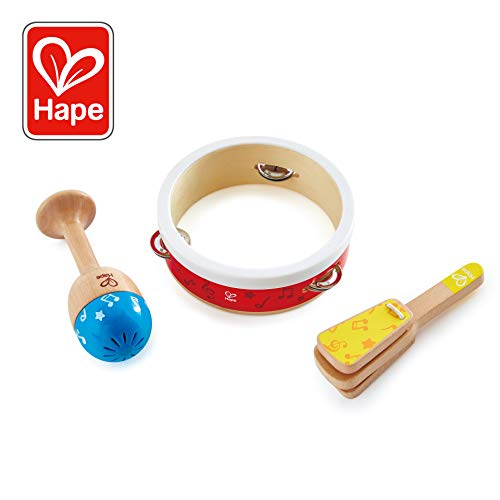 Hape Junior Percussion Set | 3 Piece Wooden Percussion Instrument Set for Toddlers