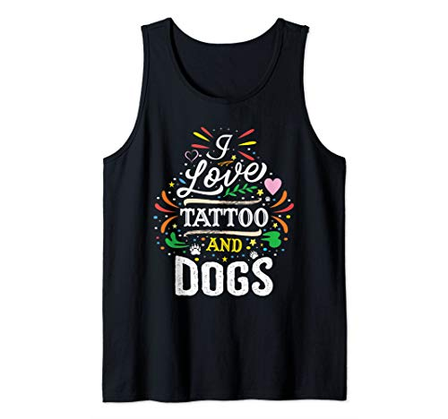 (I Love Tattoo And Dogs Tank Top)