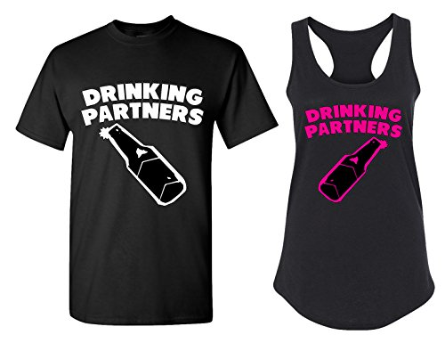 Drinking Partners Matching Couple T Shirts - His and Hers Racerback Tank Tops -