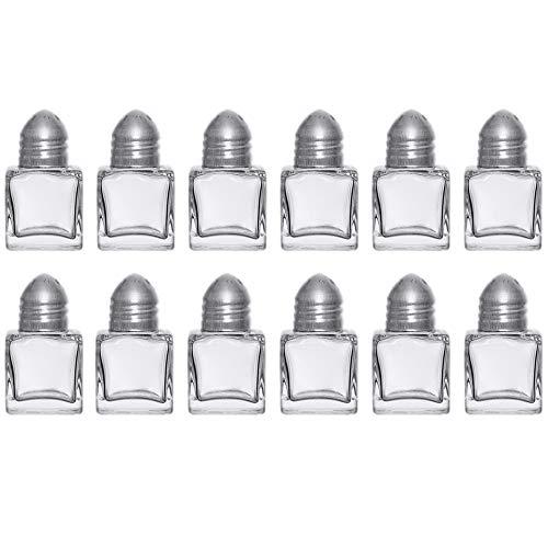 ((Set of 12) Mini Salt and Pepper Shakers, 0.5 Oz Glass Cube Body, Restaurant Salt and Pepper Shakers By Tezzorio)