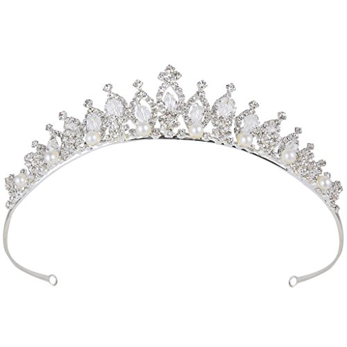 BriLove Women's Crystal Victorian Style Simulated Pearl Bling Wedding Bridal Crown Hair Tiara Silver-Tone ()