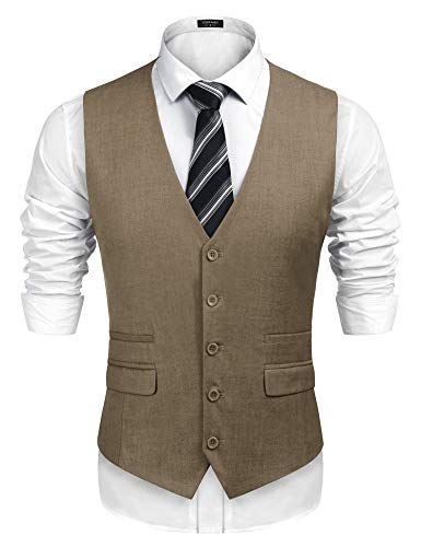COOFANDY Men's Business Suit Vest,Slim Fit Skinny Wedding Waistcoat (Large, Khaki)