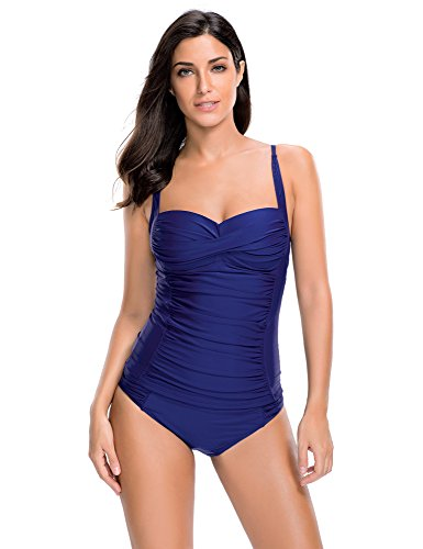 cc54cdf01b036 ACKKIA Women's Ruched Solid Two-Piece Swimsuit Tankini Set Swimwear ...