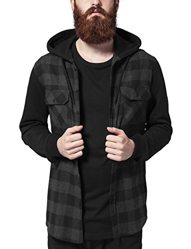 Hombre para Bl Camisa Sleeve Hooded Checked Classics Blk Urban 690 Cha Mehrfarbig Shirt Sweat Flanell w8zSBZ
