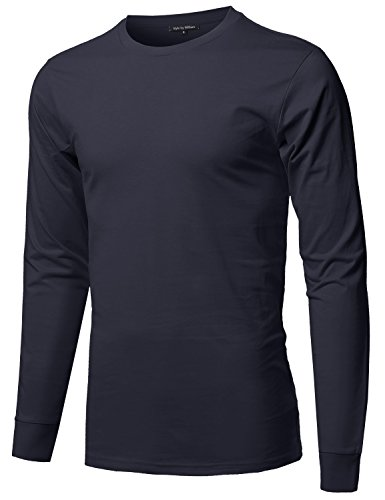 Style by William Causal Solid Basic 100% Ring Spun Cotton Long Sleeve T-Shirt Navy Blue L ()