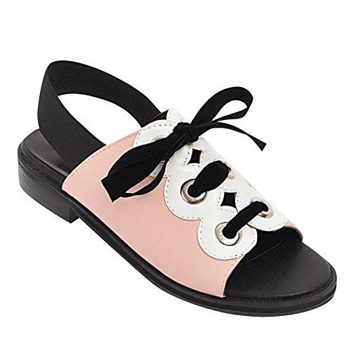 Charme Voet Dames Lolita Stijl Lage Hak Multicolor Lace-up Sandalen Roze
