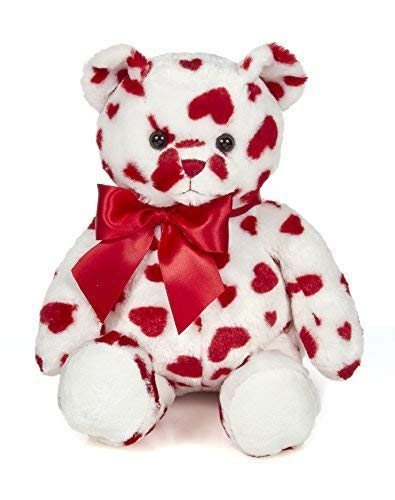 Bearington Lil' Cutie White Plush Stuffed Animal Teddy Bear with Hearts, 14 inches ()