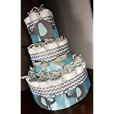 Elephant Diaper Cake - 3 Tier - Baby Shower Gift - Gray Chevron (Blue, Pink, Yellow, Purple Options)