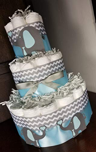 Elephant Diaper Cake - 3 Tier - Baby Shower Gift - Gray Chevron (Blue, Pink, Yellow, Purple Options) -