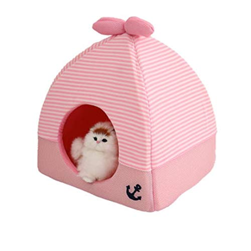 PANDRAGON Small Medium Pets Tent House Warming Comfortable Kitten Triangle Bed Cave Removable Cushion Pad Rabbit Squirrel Hedgehog Chinchilla House Cage Nest