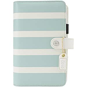 Color Crush Faux Leather Personal Planner Kit 5.5x8-Teal & White Stripe