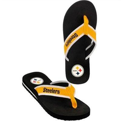 Flip Team Flops (Pittsburgh Steelers Contoured Flip Flops -Team Color Official NFL Unisex Flip Flop Beach Shoes Sandals slippers size large)