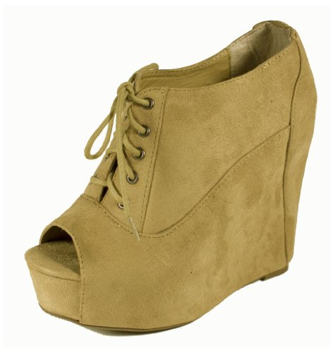 Fia! By Soda Trendy Lace-up, Hidden Platform Wedge, Peep-toe Ankle Bootie, light taupe faux suede, 7.5 M