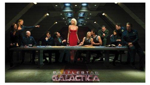 Battlestar Galactica TV Show Art Print - TV Show Memorabilia - 11x17 Poster, Vibrant Color, Features Edward James Olmos, Mary McDonnell, Katee Sackhoff. ()