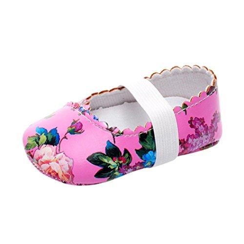 Igemy 1 Paar Neugeboren Säugling Baby Mädchen Blumen Pattern Crib Schuhe Soft Sole Anti-Rutsch Turnschuhe Rosa