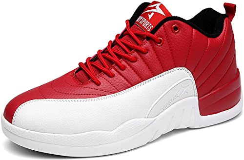 JiYe Men's&Women's Shoes Fashion Sneakers,White Red,11.5US-Women/10US-Men