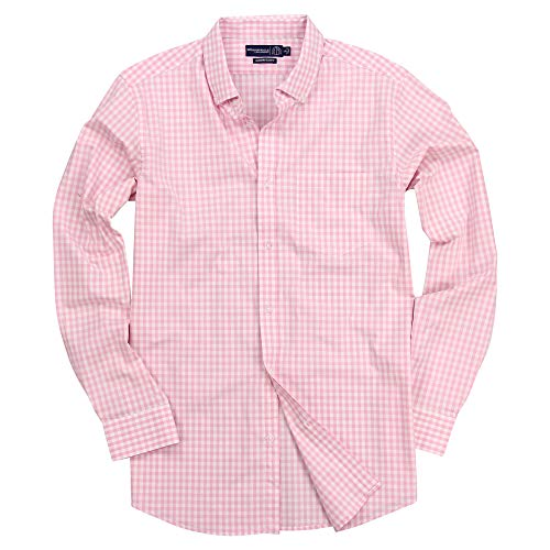(Men's Long Sleeve Slim Fit Button Down Stretch Gingham Plaid Casual Shirt (Pink/White, Slim Fit: Medium))