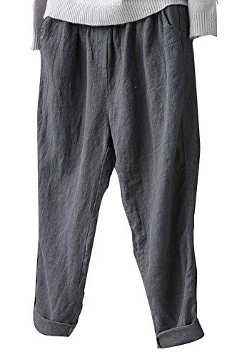 Cotton Linen Pants - Soojun Womens Cotton Linen Loose Fit Elastic Waist Harm Pant, Grey, Large