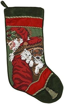 C F Home Santa with Dog Cat Needlepoint Stocking