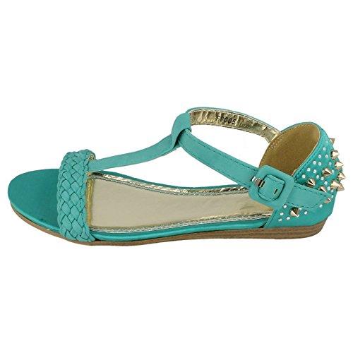 Spot On Flat Plaited Vamp / T Bar Sandal / Studded Heel Blue tNINPkUB