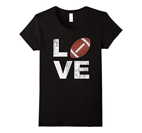Womens LOVE Football Player Fan Parent Distressed Game Day Shirt XL Black (About Football T-shirt)