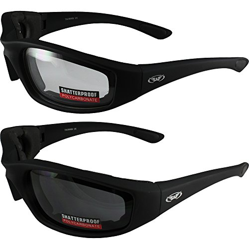 Global Vision Eyewear Two (2) Pairs Kickback Padded Motorcycle Sunglasses Black Frame Clear Lens Smoke Lens ()