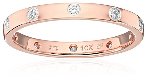 10k Rose Gold Eternity Diamond Eternity Ring, Size 6