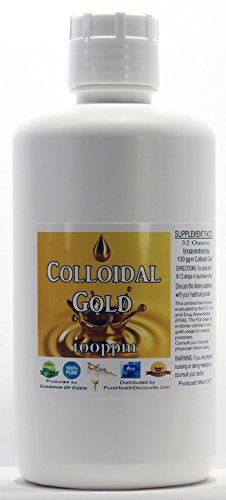 PHP 32 ounce Concentrated Colloidal Gold 100ppm + FREE dropper bottle; Shipped fast. (32 fl oz)