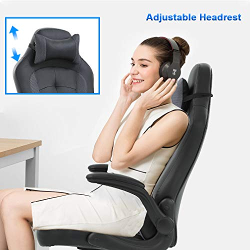 Gaming Chair Office High-Back PU Leather Racing Chair Reclining Computer Executive Desk Chair with Lumbar Support Adjustable Arms Rolling Swivel Chair for Women, Men(Grey) by BestMassage (Image #3)