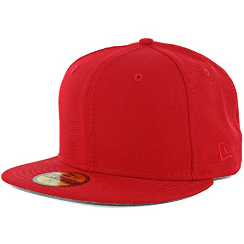 - New Era Plain Tonal 59Fifty Fitted Hat (Scarlet Red) Men's Blank Cap