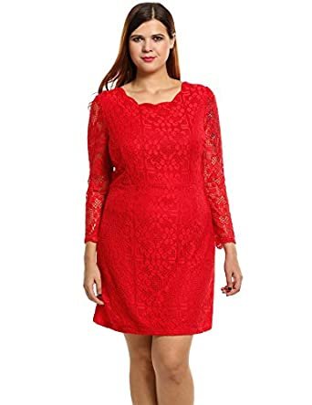 Meaneor Women Plus Size Long Sleeve Lace Dress Black Red at Amazon ...